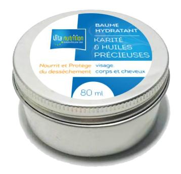baume hydratant au beurre de karité au pouvoir régénérant, associé aux huiles précieuses et végétales de noyaux d'abricot, de jojoba.