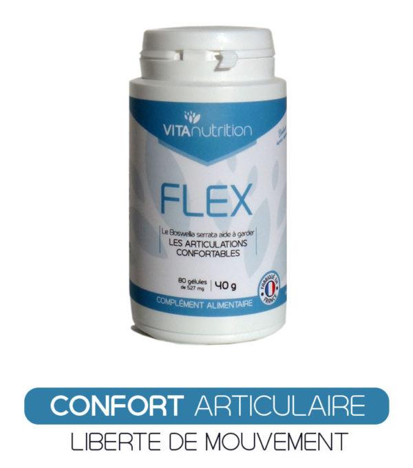 Flex est une synergie puissante d'extraits de 6 plantes (pépins de raisin, curcuma, boswellia...) de minéraux et de vitamine C pour agir directement sur le confort articulaire et vous donner des résultats rapides et durables. Retrouvez votre liberté de mouvement et profitez de la vie ! Flex peut aussi être utilisé lors des allergies aux pollen par son effet positif sur les inflammations et la présence d'extrait de pépins de raisin, MSM...
