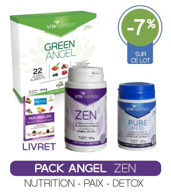 Pack Angel Zen repose sur le Processus N.E.C. Nutrition cellulaire - Elimination des toxines - Ciblage. C'est un processus complet et profond qui assure un résultat rapide et durable. Nutrition Cellulaire et Elimination sont la base de la santé naturelle à une époque où 92% d'entre nous respirons un air trop pollué et où la valeur nutritionnelle de nos aliment s'est dégardée. Vous allez rapidement retrouver plus de calme et de sérénité en toutes circonstances. Votre sommeil va arriver plus facilement et sera plus profond et réparteur, gage de plus de bien-être dans la journée
