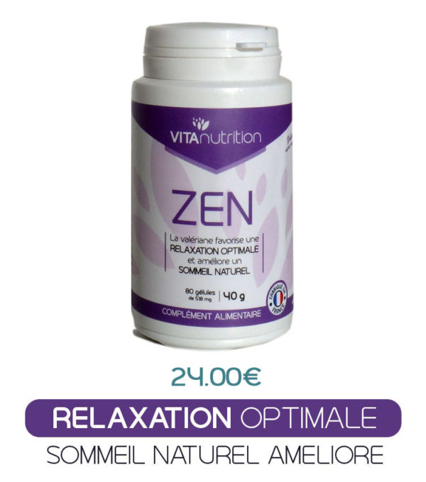 Stress ? Iritabilité ? Troubles de l'enformissement ? Mauvais sommeil ? Zen ets une synergie redoutable de 6 plantes, de magnésium et de vitamines. Zen favorise une relaxation optimale et consommé le soir améliore le sommeil naturel. La qualité de votre sommeil déternine votre niveau de bien-être durant la journée. Assurez-vous d'un sommeil profond et réparateur.