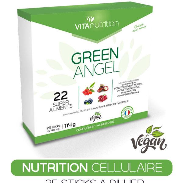 GREEN ANGEL est un produit naturel composé de super-aliments du monde entier riche en vitamines, minéraux, oligo-éléments, pigments, antioxydants et enzymes