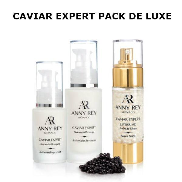 soins anti-âge visage caviar expert pack de luxe. CAVIAR DELUXE PACK ANNY REY comprenant un Soin Visage Anti-Rides Caviar Expert, un Soin anti-âge visage perles de sérum au caviar, un Soin anti-rides regard au caviar