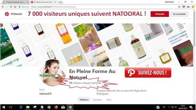Rejoignez les 7 000 visiteurs uniques mensuels de Natooral sur Pinterest !