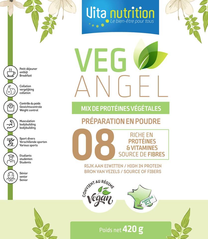 Veg Angel, synergie de 8 sources végétales riches en Protéines, Glucides lents, fibres et oméga 3, avec source végétale de VItamine D3 Vous allez aimer ce produit naturel pour le petit déjeuner, collation, avant ou après l'effort, en phase minceur pour remplacer une partie d'un repas