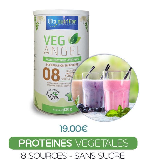 Veg Angel est composé de 8 sources végétale riches en protéines, fibres, oméga 3, vitamines B, C, D3 sans sucre et compatible vegan