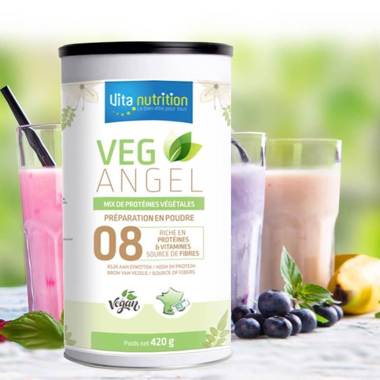 veg angel une synergie de 8 sources végétales riches en protéines, fibres et oméga3. Excellent en petit déjeuner, collation, après sport, conrôle de poids, pour les séniors. Riche en Vitamines B, C et D3 végétale